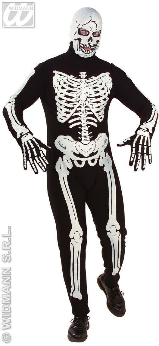 Deluxe Skeleton Adult Fancy Dress Costume Mens (Halloween)