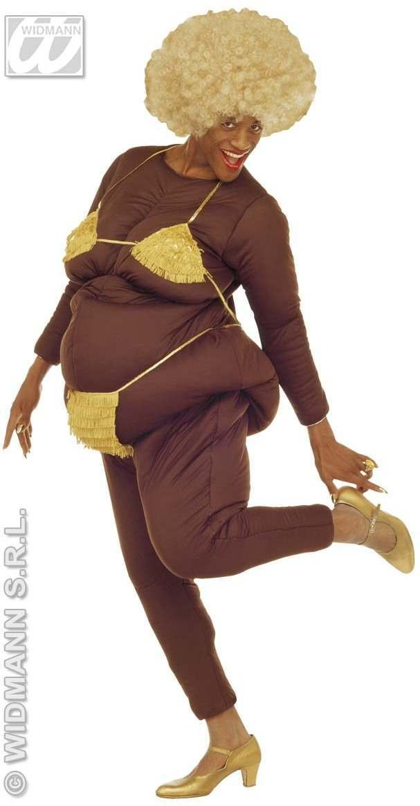 Fat Lap Dancer Costume Adult Brown Fancy Dress Costume