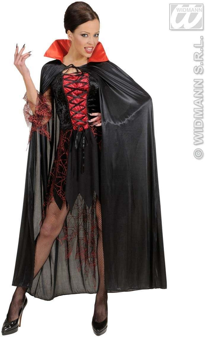 Black Cape W/Red Collar Adult Size - Fancy Dress Ladies (Halloween)