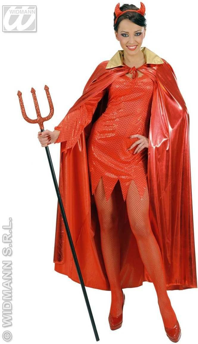 Metallic Red Cape W/Gold Collar Adult Size, Fancy Dress (Halloween)