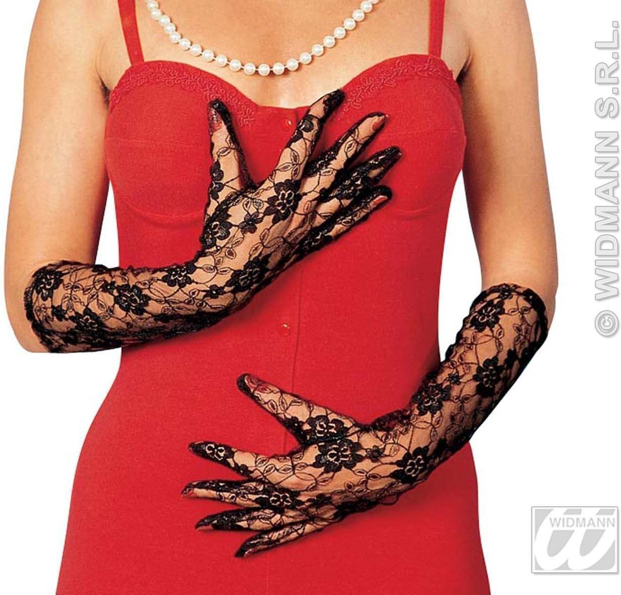 Gloves Lace 40Cm Black - Fancy Dress