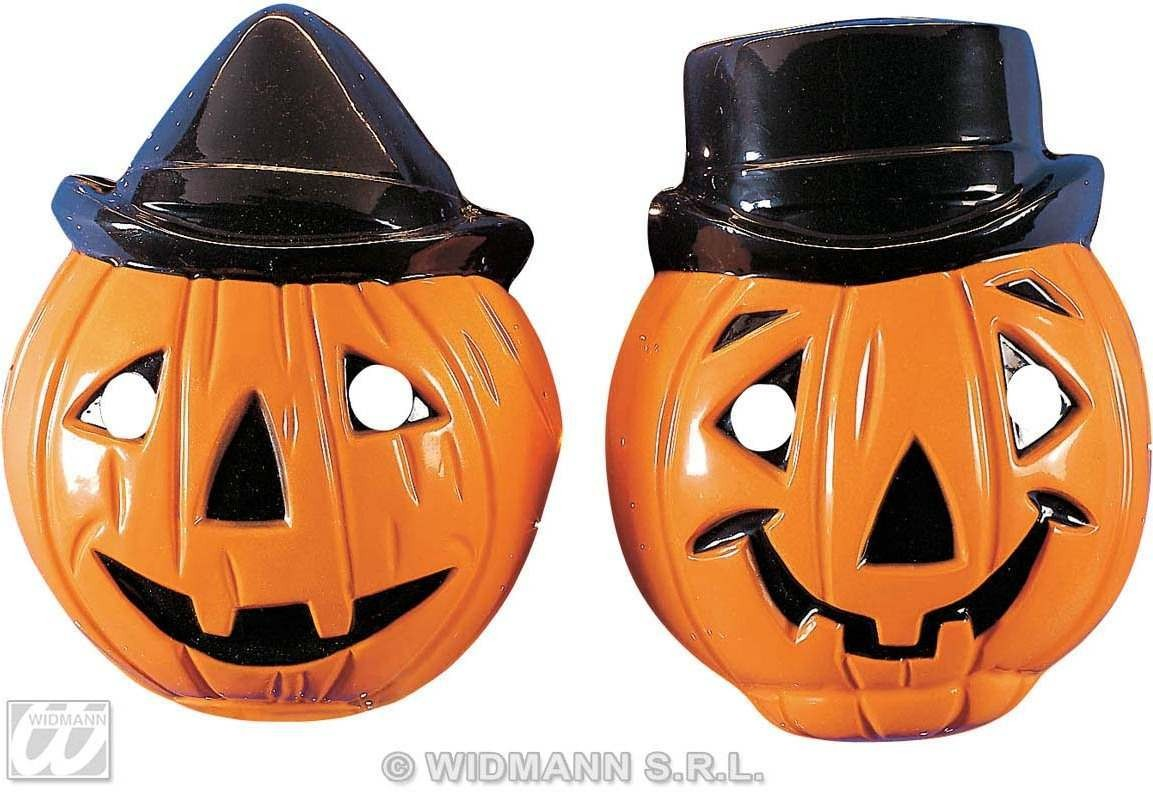 Child Plastic Pumpkin Masks - 2 Styles . Fancy Dress (Halloween)