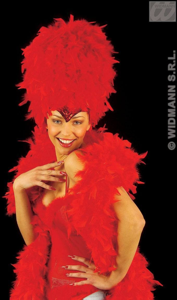Sequinned Feather Headdress Red - Fancy Dress