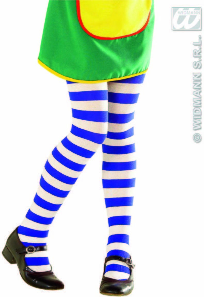 Striped Pantyhose Kids Blue/White - Fancy Dress
