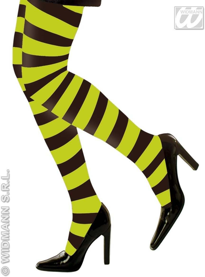 Neon Striped Coloured Pantyhose - Fancy Dress