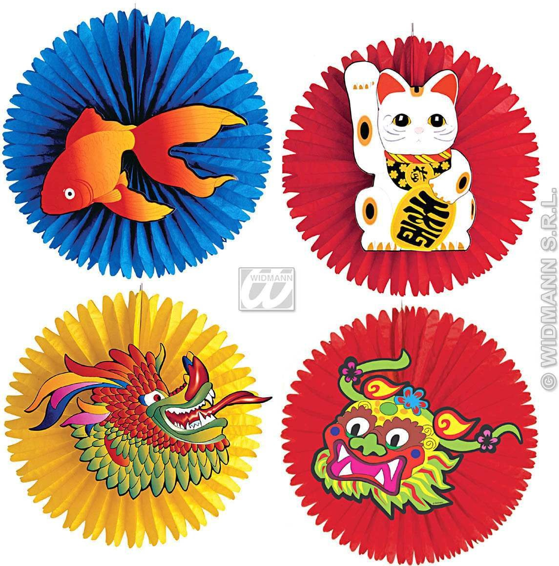 Oriental Paper Fans 55Cm - Fancy Dress