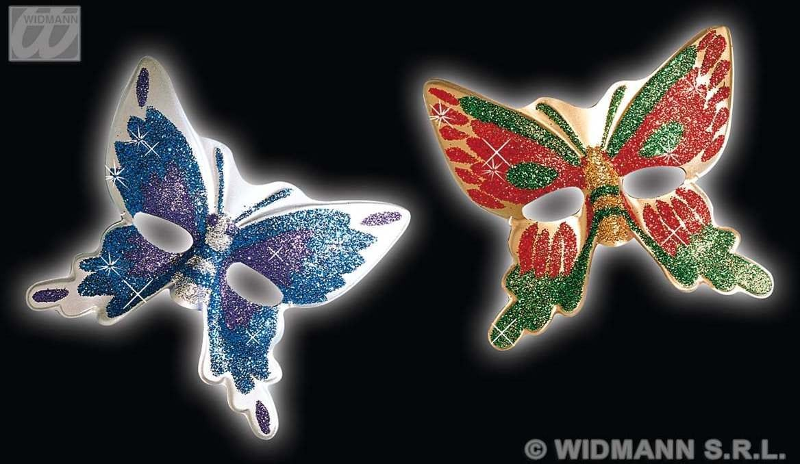 Plastic Glitter Butterfly Masks 2 Cols.. Fancy Dress