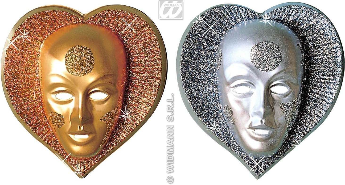 Glitter Heart Mask Plastic 2 Colours - Fancy Dress