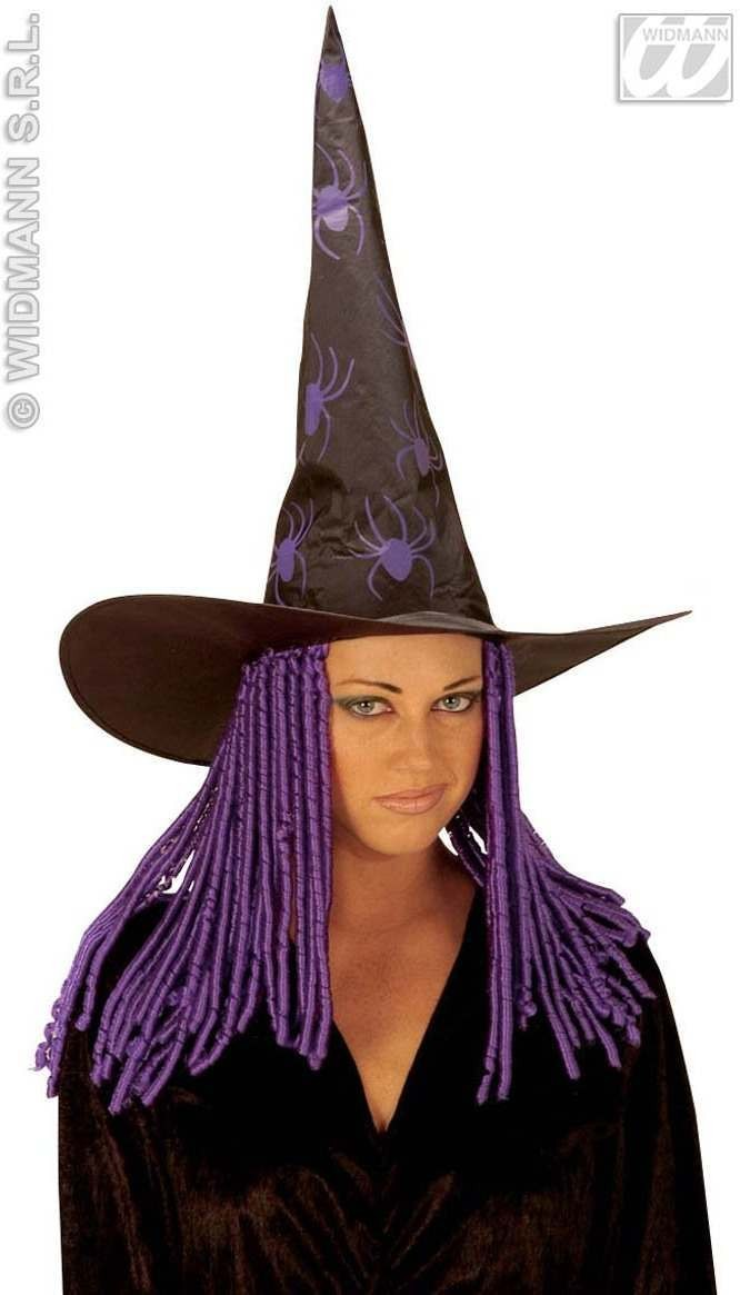 Witch Hat Curly Neon Hair - Fancy Dress (Halloween)