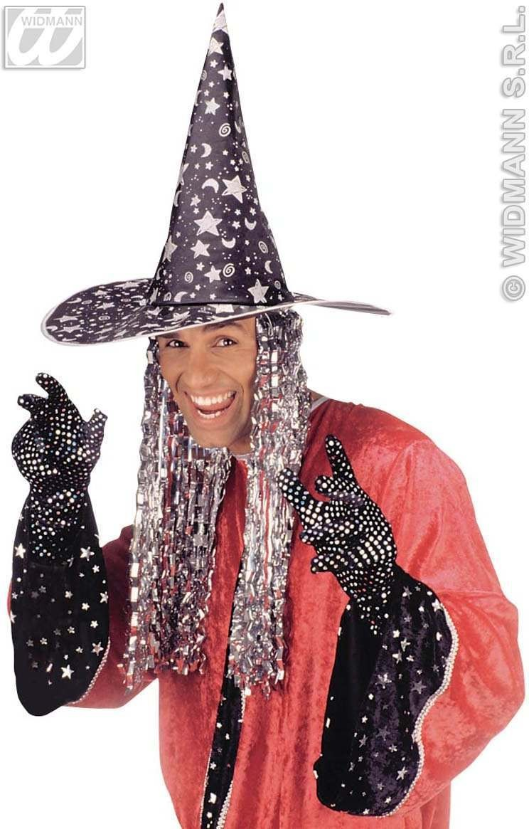 Witch/Wizard Hat W/Tinsel Hair - Fancy Dress (Halloween)