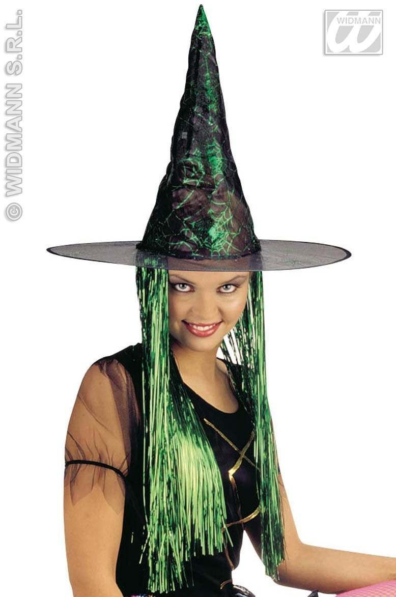 Witch Hat Lace W/Tinsel Hair - Fancy Dress (Halloween)