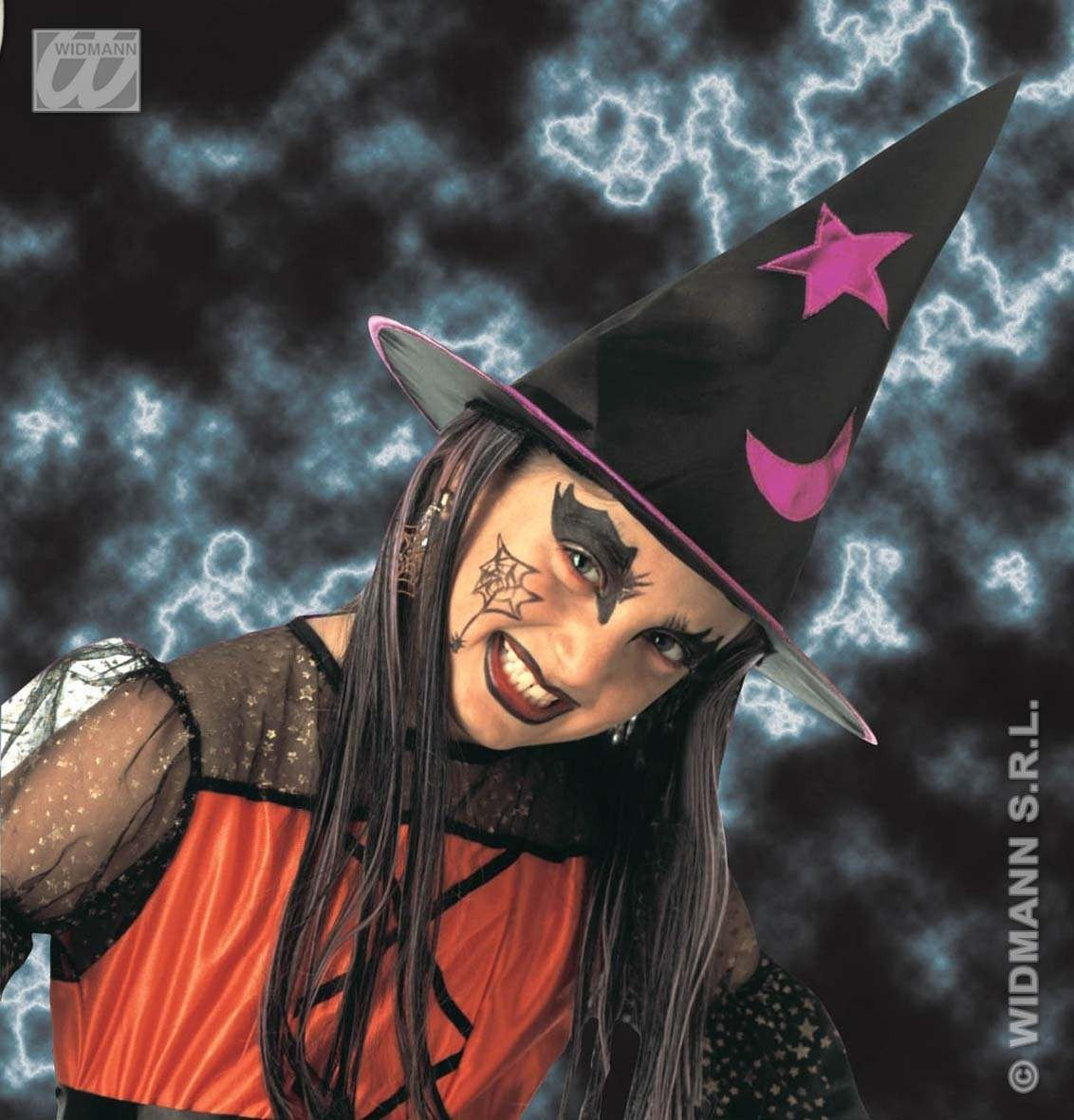 Decorated Witch Hat W/Hair Child Size - Fancy Dress (Halloween)