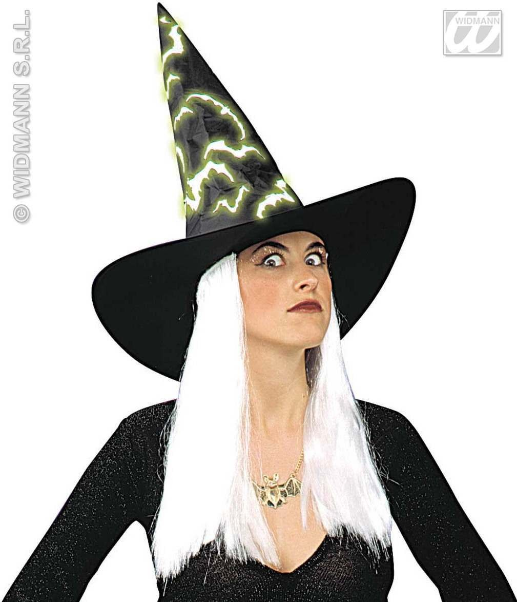 Witch Hat W/ Gid Bats And White Hair - Fancy Dress (Halloween)