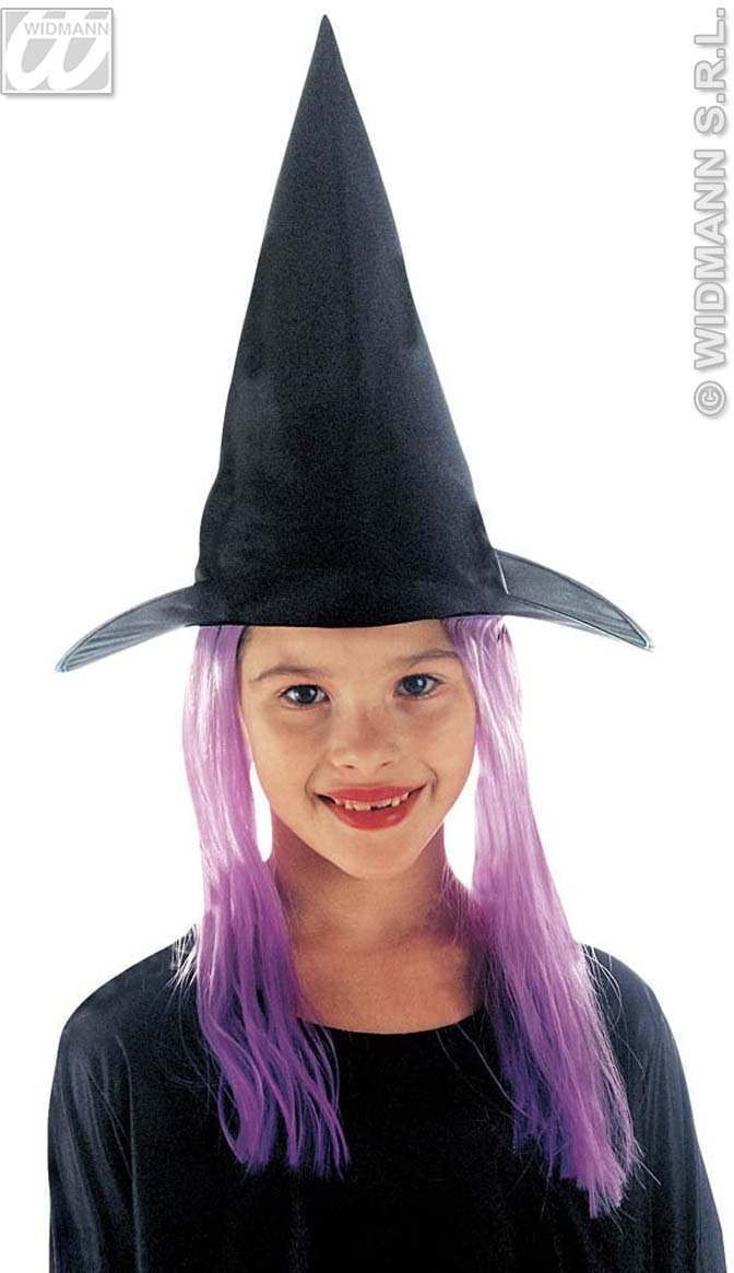 Child Witch Hat W/Hair 3Colours - Fancy Dress Girls (Halloween)