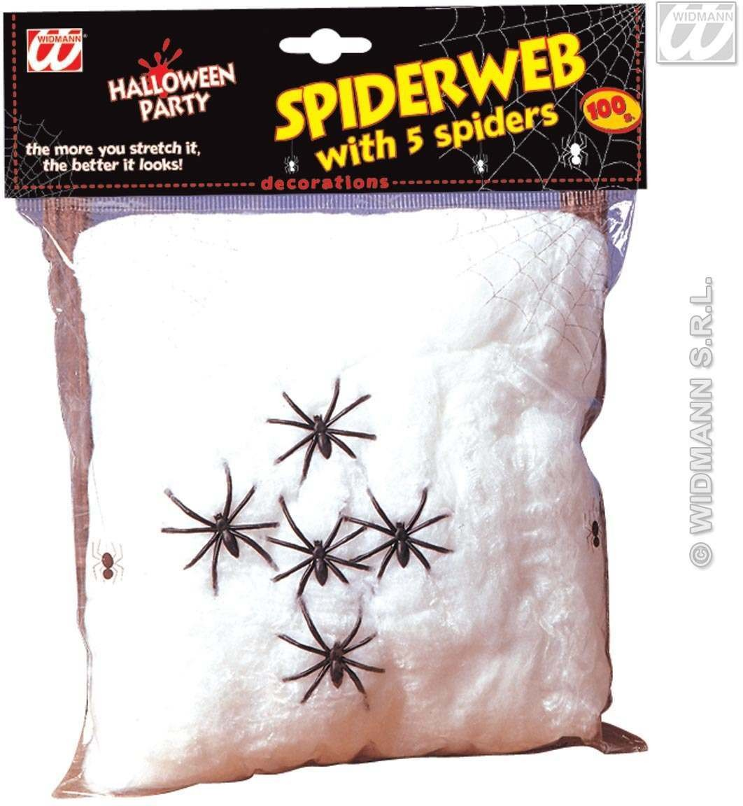 Spider Web 100G W/5 Spiders - Fancy Dress (Halloween)