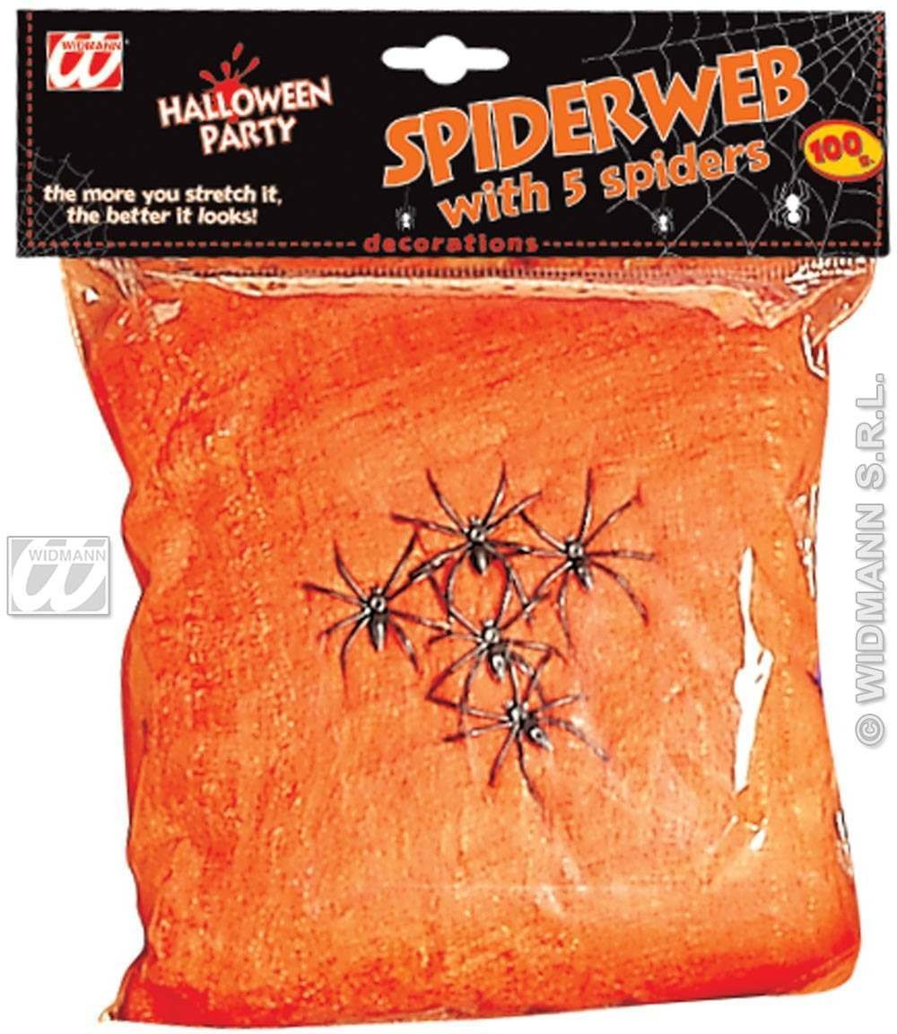 Orange Spiderweb 100G W/5Spiders Gid - Fancy Dress (Halloween)