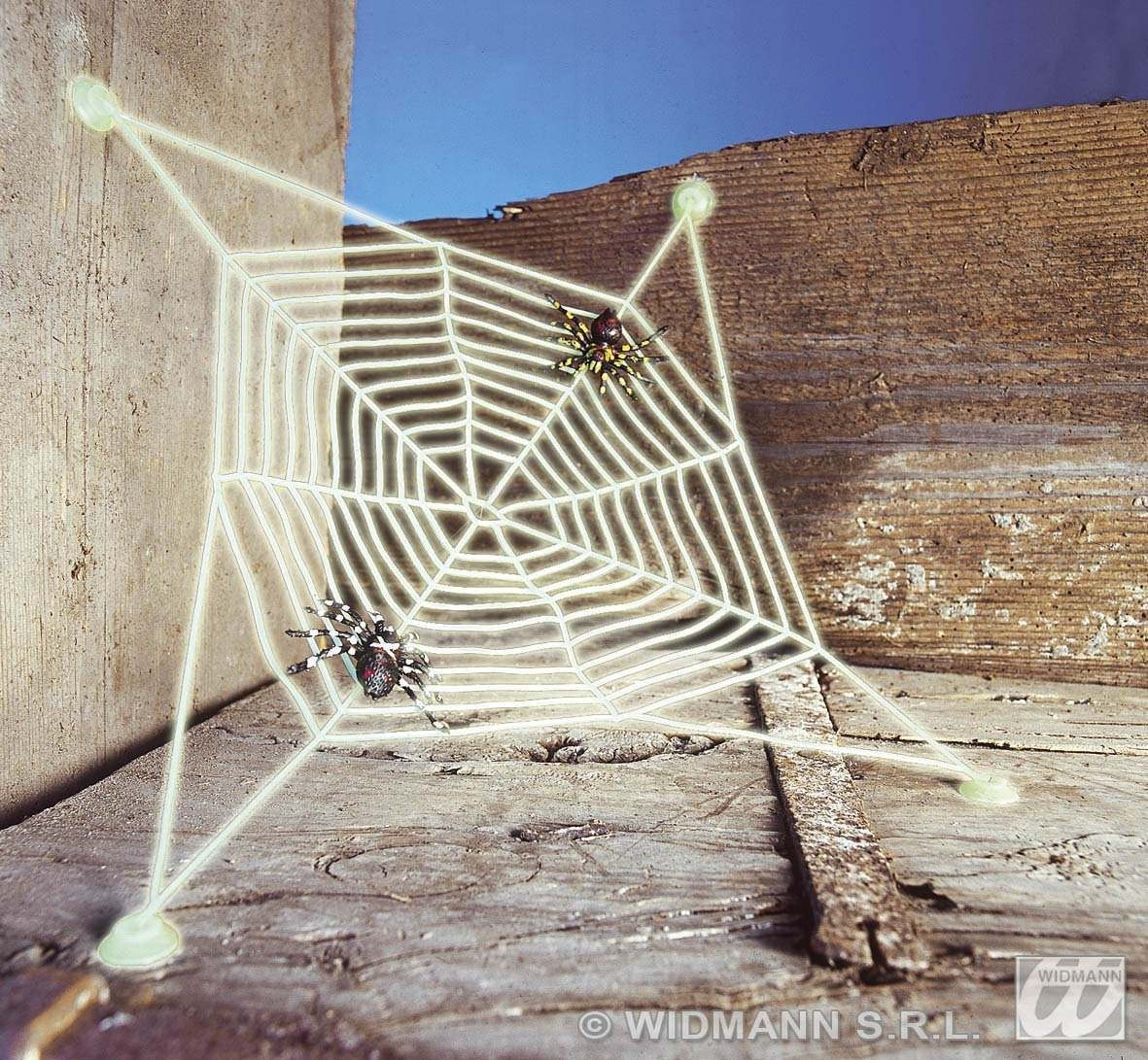 G.I.D.Spiderwebs W/Suction Caps, 2 Spiders Fancy Dress (Halloween)