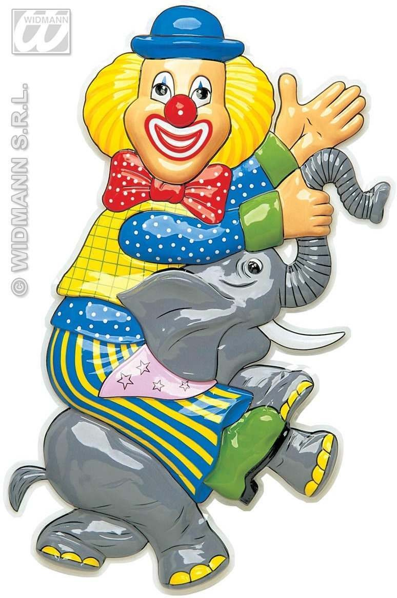 Pvc 3D Clown On Elephant Decorat.-H 100Cm Fancy Dress (Clowns)