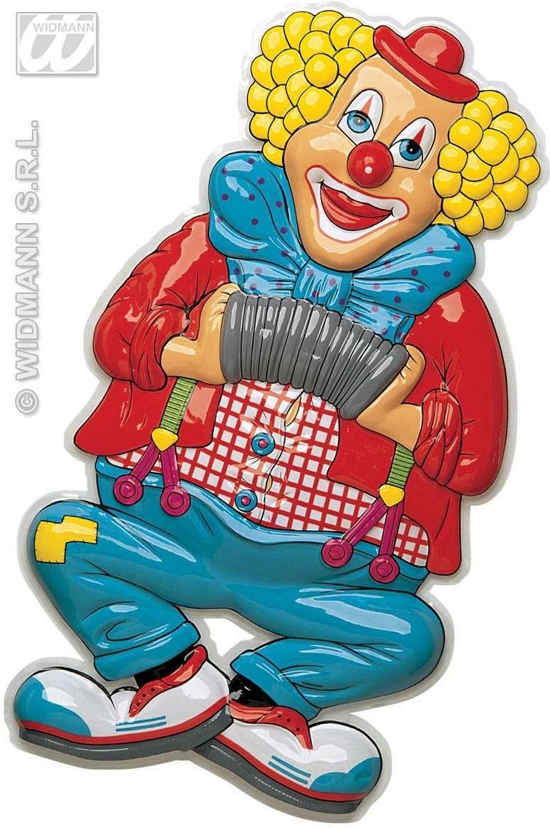3D Clown W/Accordion Decorations H 100Cm Fancy Dress (Clowns)