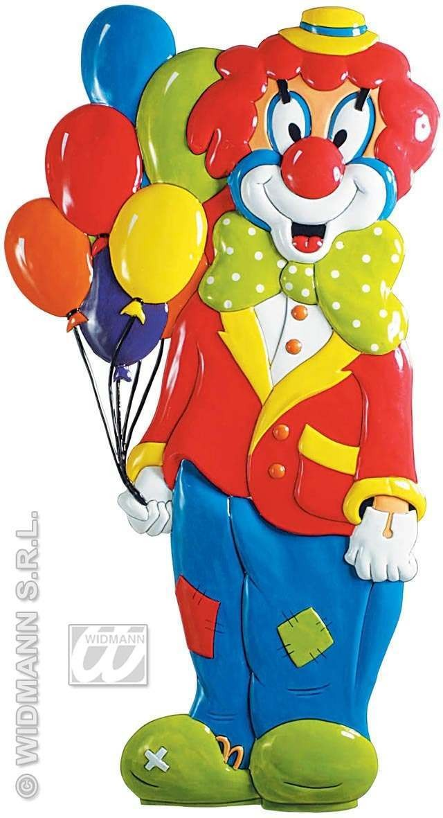 3D Clown W/Balloons Pvc Decoration 100X53Cm Fancy Dress (Clowns)
