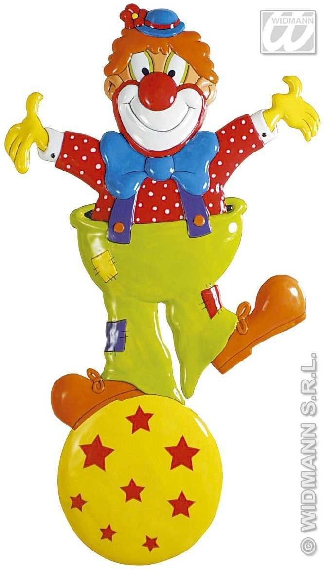 3D Clown On Ball Pvc Decoration 100X57Cm - Fancy Dress (Clowns)