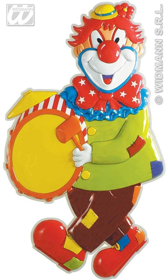3D Clown W/Drum Pvc Decoration 100X57Cm - Fancy Dress (Clowns)