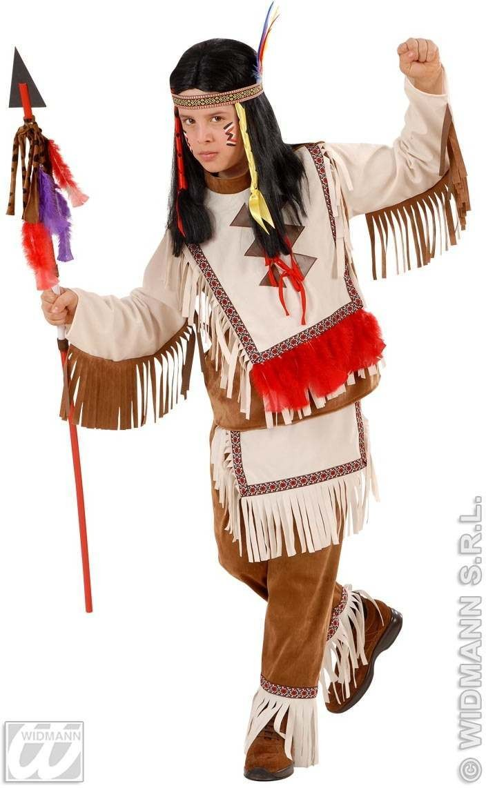 Native American Boy With Coat, Pants Fancy Dress Costume Boys (Cowboys/Native Americans)