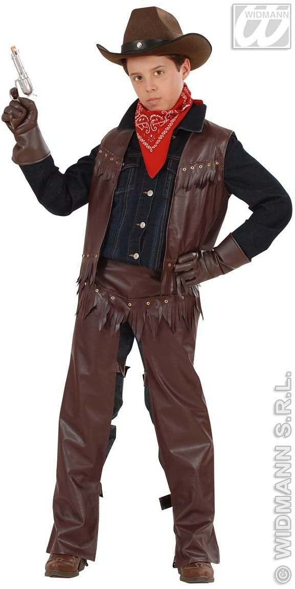Leather. Cowboy With Vest, Chaps Fancy Dress Costume