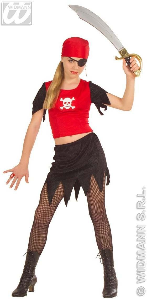 Pirate Girl With Top W/Light, Up Skull, Fancy Dress (Pirates)