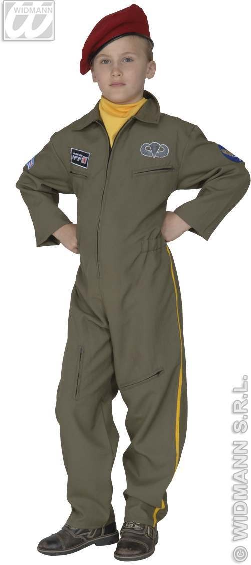Fiberop.Paratrooper Heavy Fabric Fancy Dress Costume (Army)
