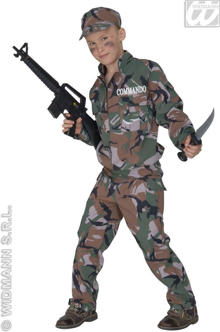 Soldier Costume Child F/Optic Fancy Dress Costume Boys (Army)