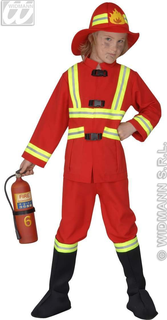 Fireman Costume Child F/Optic Heavy Fancy Dress Costume (Fire Service)