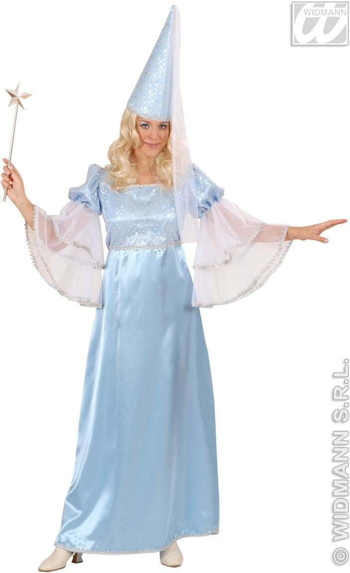 Satin Turquoise Fairy With Dress, Hat With Veil Costume (Fairy Tales)