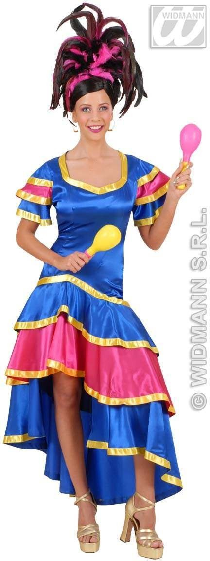 Satin Samba Dancer With Dress Fancy Dress Costume (Spanish)