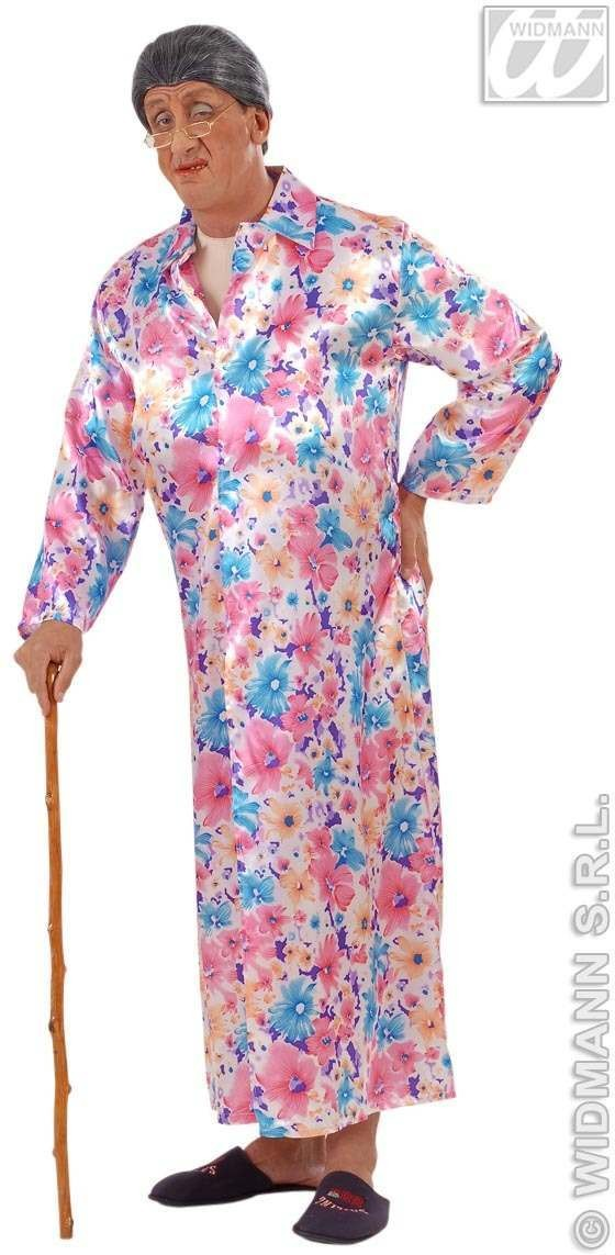 Satin Flasher Granny With Sexy Jumpsuit, Dress Costume (Sexy)