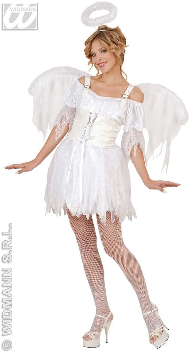 Rockoco Angel With Dress W/Corset, Wings, Halo Costume (Christmas)