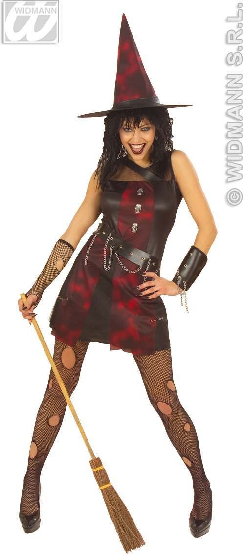Punk Witch With Dress, Armband, Hat Fancy Dress Costume (Halloween)