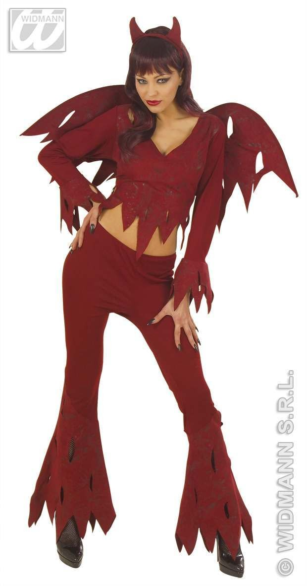 Rowdy Devil With Shirt, Pants, Wings, Horns Fancy Dress (Halloween)