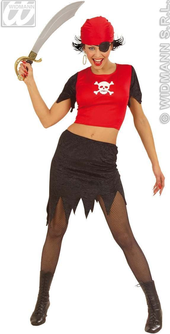Pirate Lady With Top W/Light, Up Skull, Skirt Costume (Pirates)