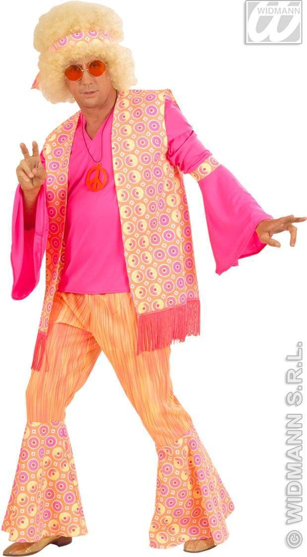Hippie Man Orange/Pink Fancy Dress Costume Mens (1960S)