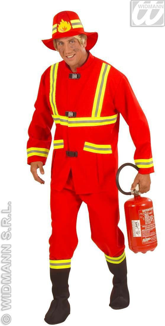 Fireman Costume Adult F/Optic Heavy Fabric Costume Mens (Fire Service)