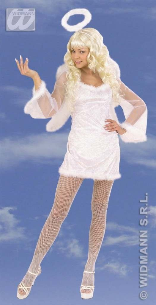 Velvet Angel With Feather Trimmed Dress, Wings Costume (Christmas)