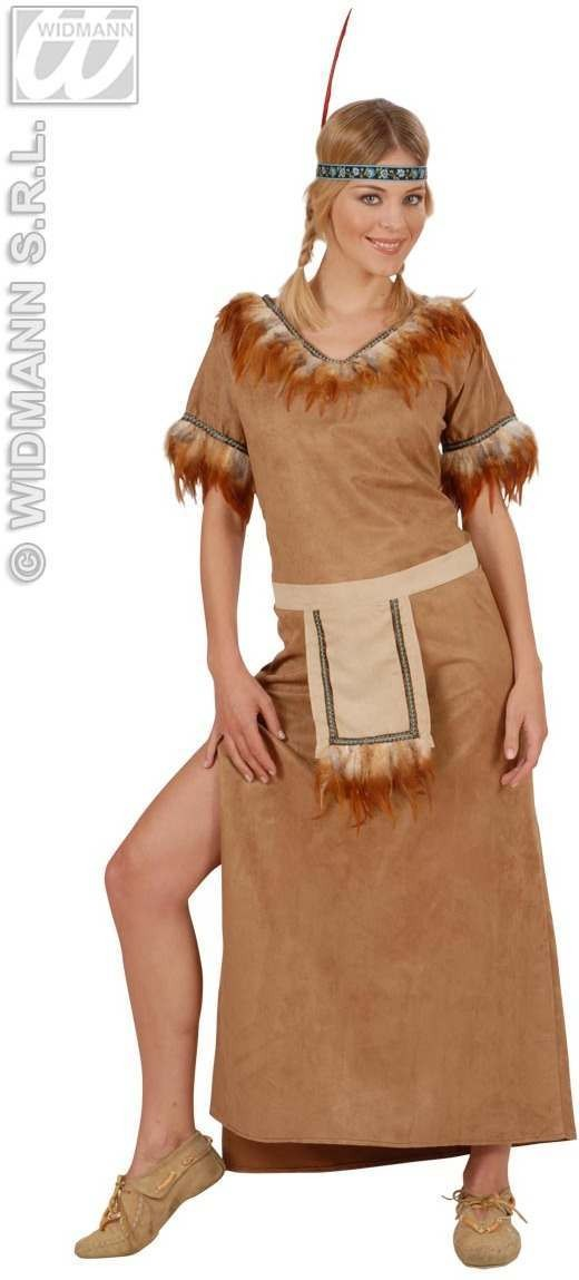 Mohawk Native American Girl Suedelook Fancy Dress Costume Ladies (Cowboys/Native Americans)