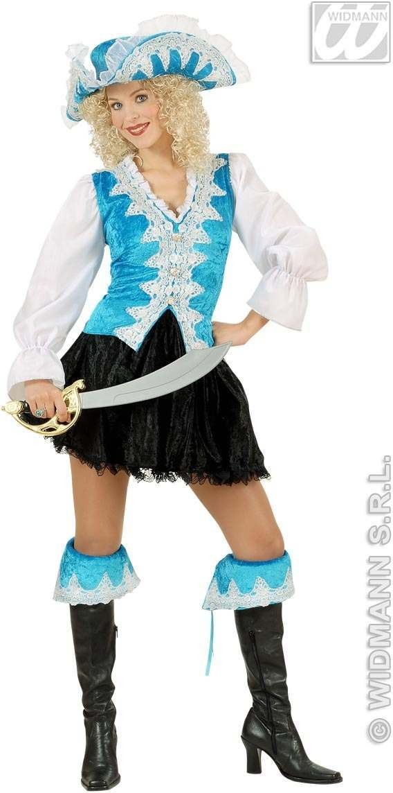 Regal Pirate Lady Velvet, Turquoise Fancy Dress Costume (Pirates)
