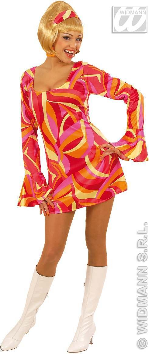 70S Chick Dress Adult **Green/Pink/Blue Costume Ladies (1970S)