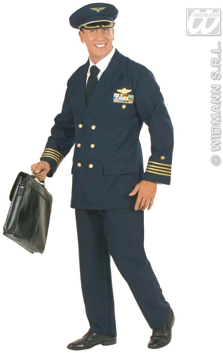 Xxl Pilot Jacket, Pants, Hat Fancy Dress Costume Chest 48-50 (Pilot/Air)
