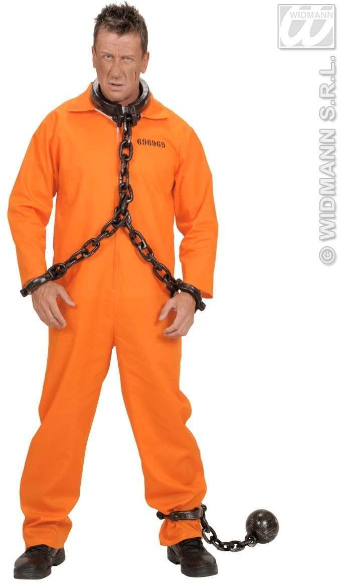County Jail Inmate Fancy Dress Costume Mens (Cops/Robbers)