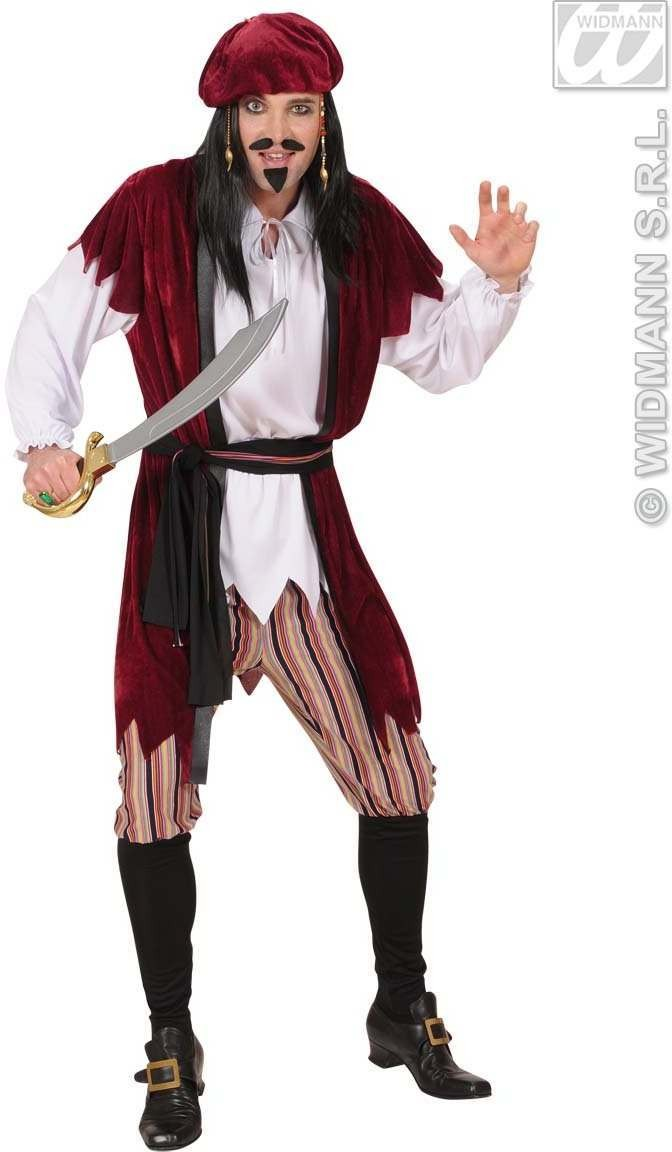 Caribbean Pirate Burgundy  Costume Mens Size 42-44 L (Pirates)