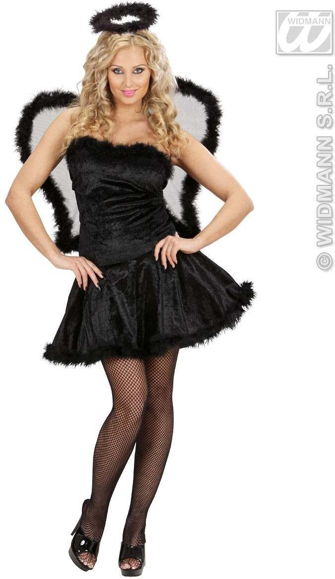 Velvet Black Angel Fancy Dress Costume Ladies (Halloween)