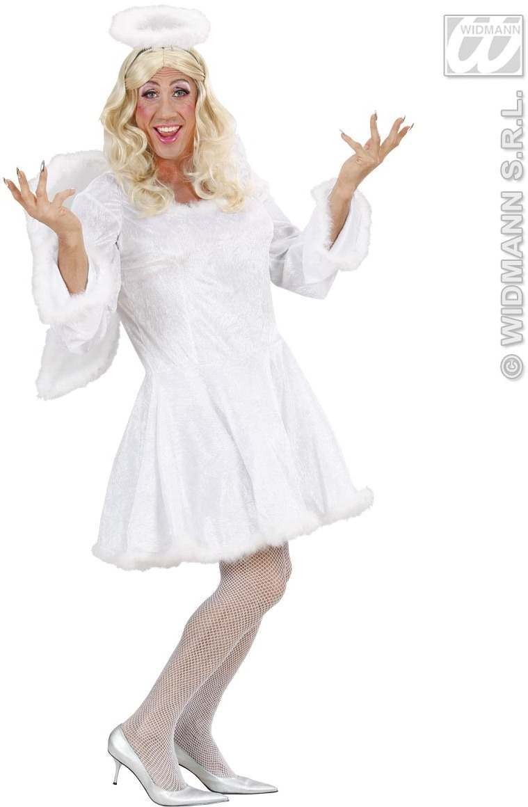 White Male Angel Dress, Wings Xl  Mens Size 46-48 (Drag)